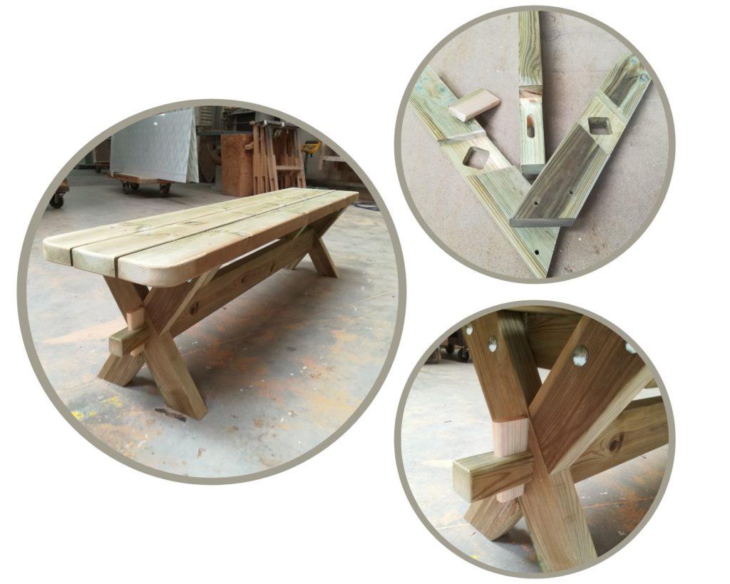 Fabrication en cours de bancs en PIN CL4