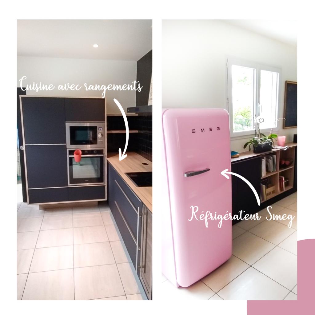 Une cuisine avec des rangements et un frigo SMEG de couleur rose